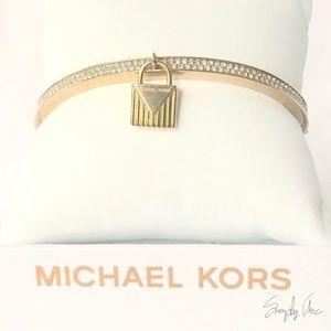 NWT authentic MK gold tone pave padlock bracelet